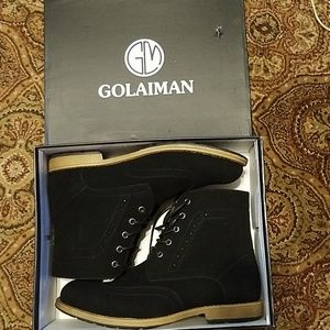 NWT Mens Golaiman suede black lace up boots